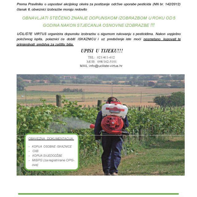 Dopunska izobrazba o sigurnom rukovanju pesticidima – Učilište Virtus