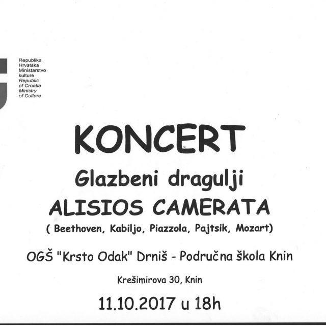 Pučko otvoreno učilište Knin organizira koncert sastava Alisios Camerata