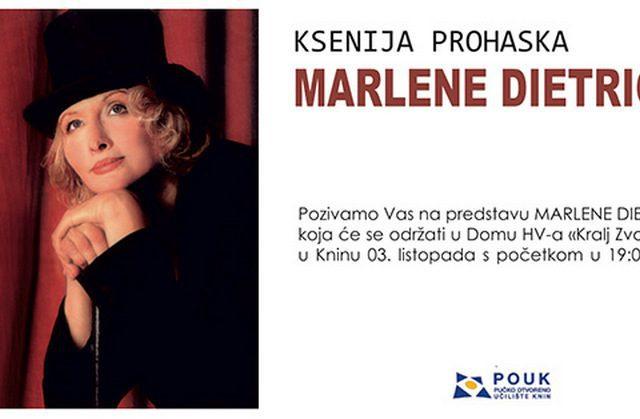 """Gostovanje Ksenije Prohaska s predstavom """"Marlene Dietrich"""""""