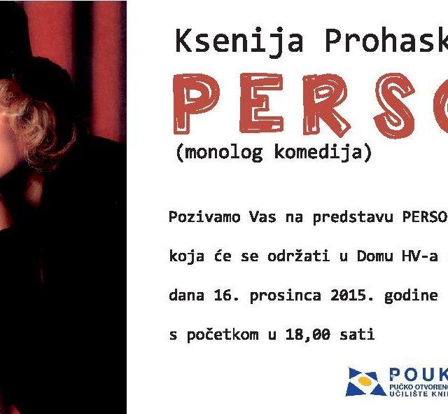 """Pučko otvoreno učilište Knin organizira predstavu """"Persone"""""""